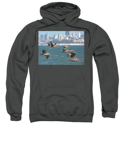 Pelicans Over San Francisco Bay Sweatshirt
