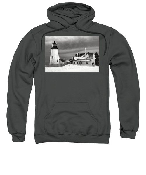 Pemaquid Point Lighthouse And Museum In Winter Monochrome  Sweatshirt