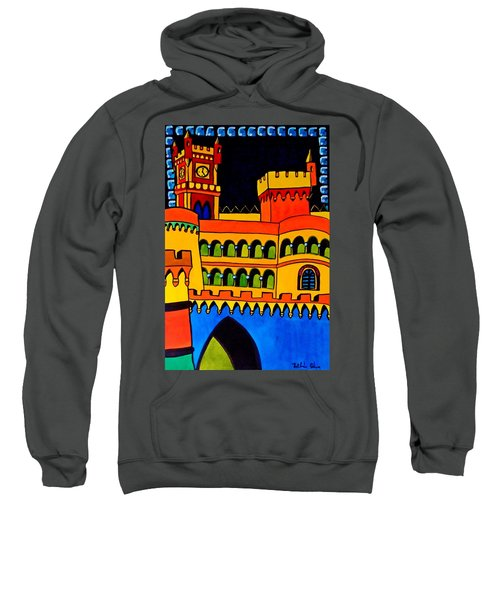 Sweatshirt featuring the painting Pena Palace Portugal by Dora Hathazi Mendes