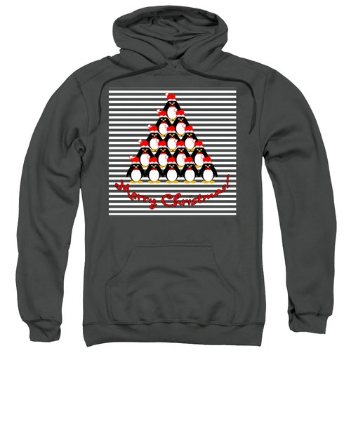 Penguin Christmas Tree N Stripes Sweatshirt by Methune Hively