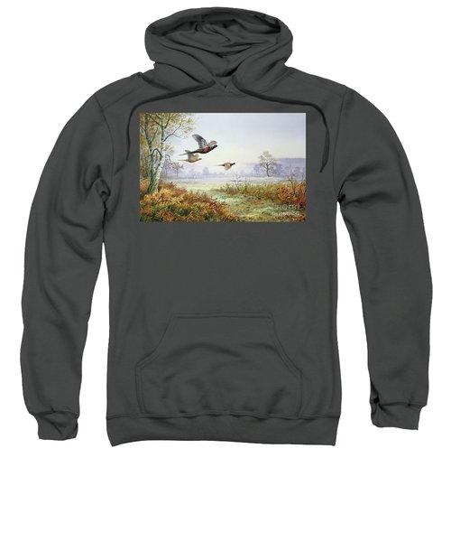 Pheasants In Flight  Sweatshirt by Carl Donner