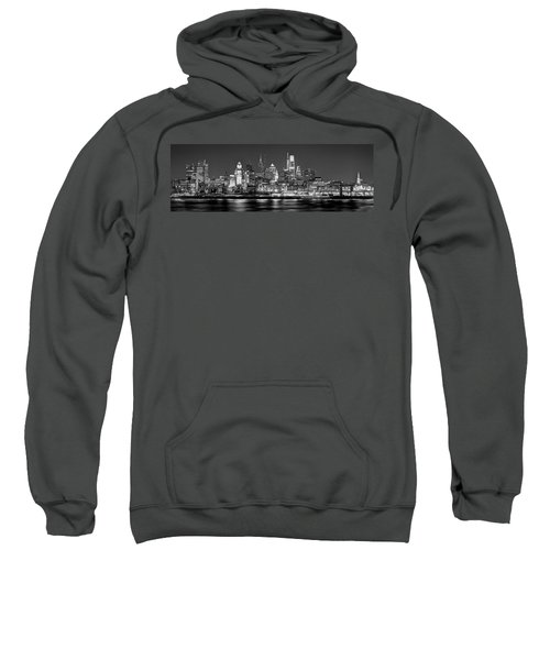 Philadelphia Philly Skyline At Night From East Black And White Bw Sweatshirt