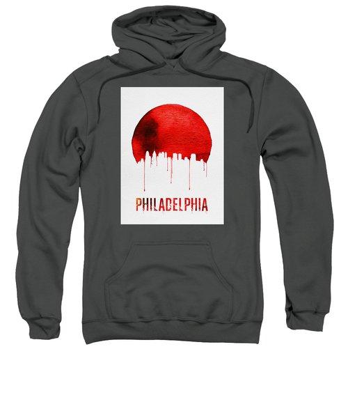 Philadelphia Skyline Redskyline Red Sweatshirt by Naxart Studio