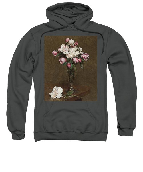 Pink And White Roses In A Champagne Flute Sweatshirt