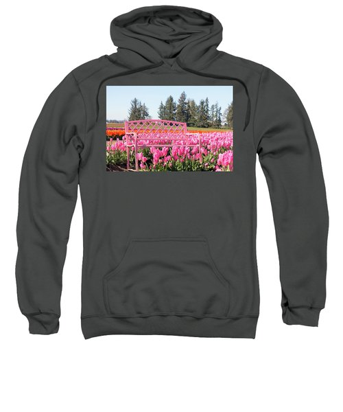 Pink Bench At Tulip Farm Sweatshirt
