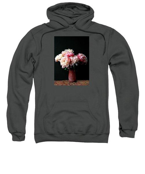 Pink Peonies In Pink Vase Sweatshirt