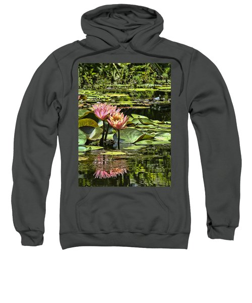 Pink Water Lily Reflections Sweatshirt by Bill Barber