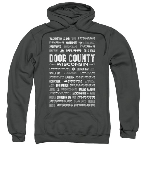 Sweatshirt featuring the digital art Places Of Door County On Red by Christopher Arndt