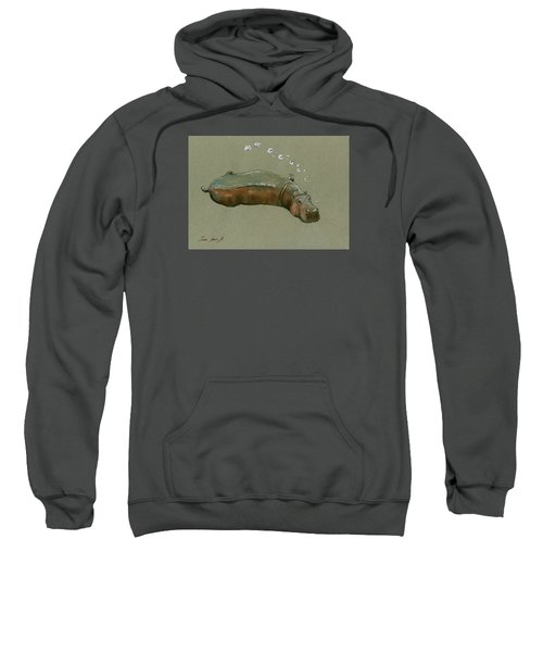 Playing Hippo Sweatshirt by Juan  Bosco