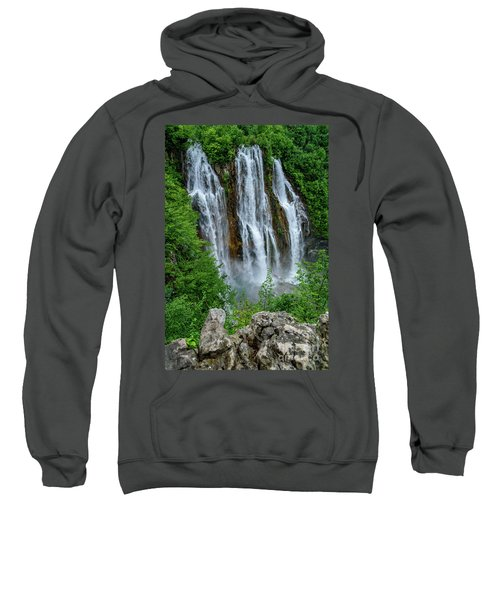 Plitvice Lakes Waterfall - A Balkan Wonder In Croatia Sweatshirt