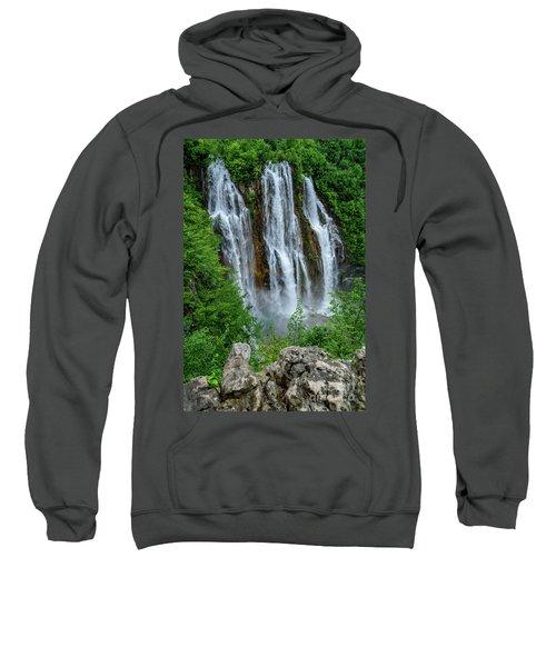 Plitvice Lakes Waterfall - A Balkan Wonder In Croatia Sweatshirt
