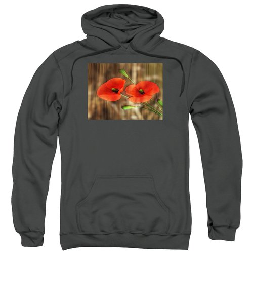 Poppies On Barnwood Sweatshirt