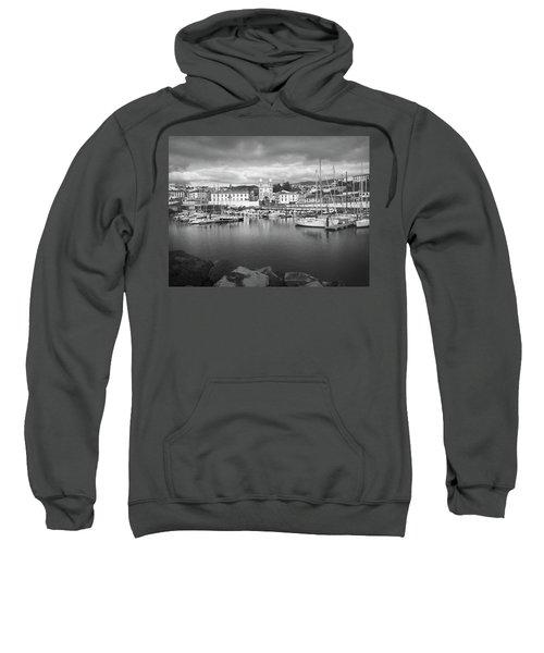Port Of Angra Do Heroismo, Terceira Island, The Azores In Black And White Sweatshirt