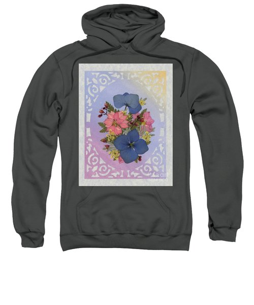 Pressed Flowers Arrangement With Pink Larkspur And Hydrangea Sweatshirt