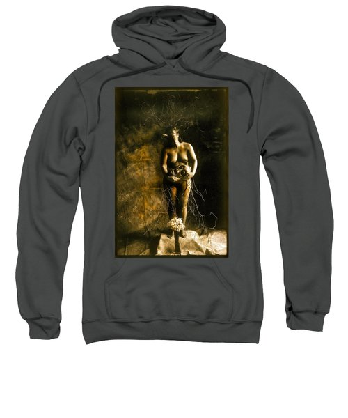 Primitive Woman Holding Mask Sweatshirt