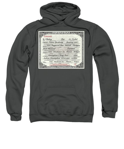Prohibition Prescription Certificate Carrie Nation Speakeasy Sweatshirt