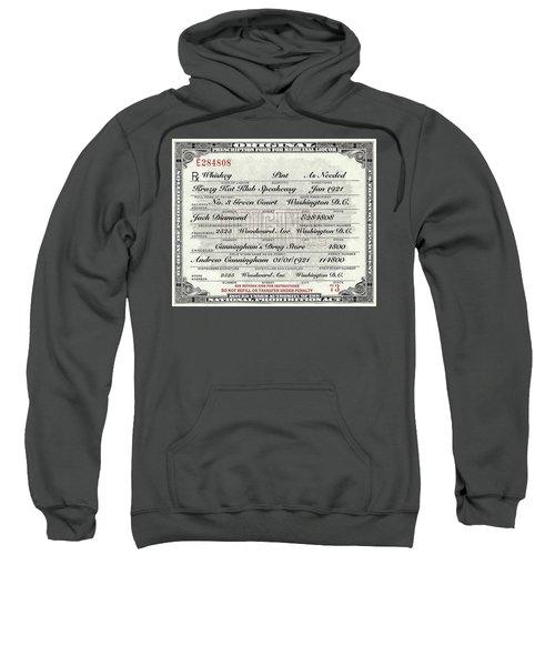 Sweatshirt featuring the photograph Prohibition Prescription Certificate Krazy Kat Klub by David Patterson