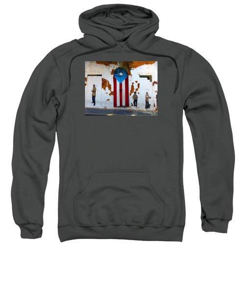 Puerto Rican Flag On Wooden Door Sweatshirt