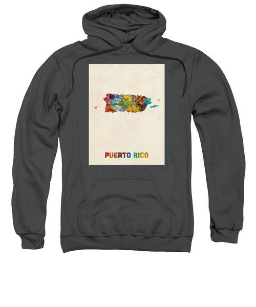 Puerto Rico Watercolor Map Sweatshirt