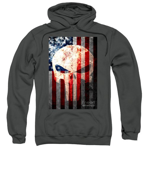 Punisher Themed Skull And American Flag On Distressed Metal Sheet Sweatshirt