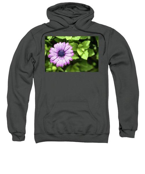 Purple Flower On Green Sweatshirt