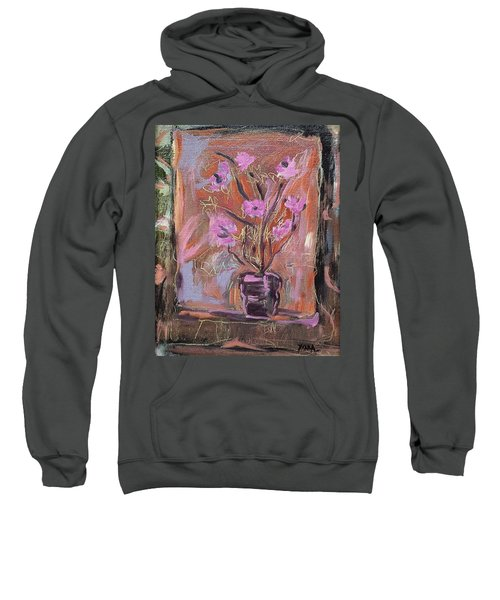 Purple Flowers In Vase Sweatshirt