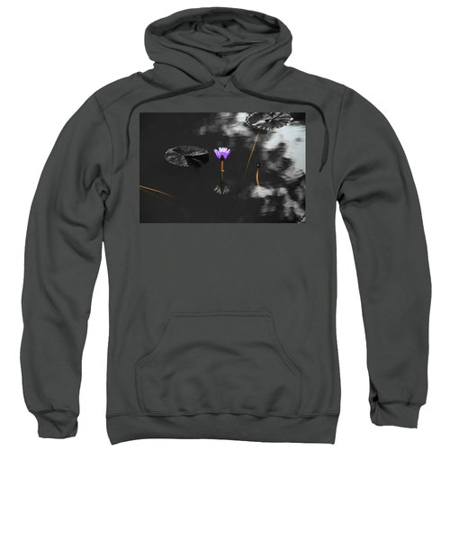 Purple Lily In Black And White Sweatshirt