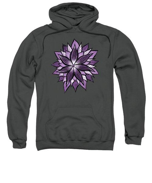 Purple Mandala Like Ink Drawn Abstract Flower Sweatshirt