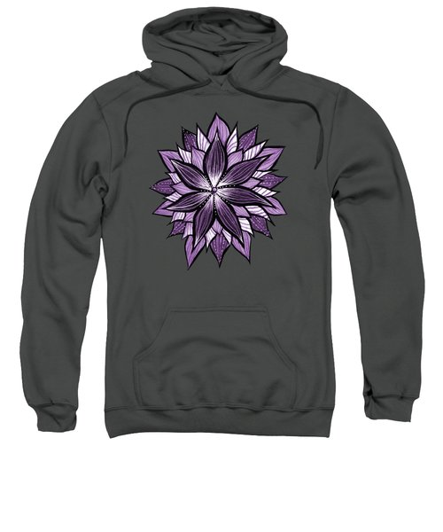 Purple Mandala Like Ink Drawn Abstract Flower Sweatshirt