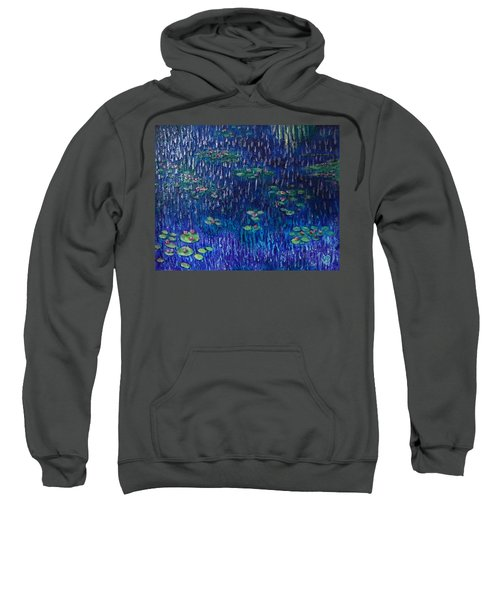 Purple Rain On Water Lilies Sweatshirt