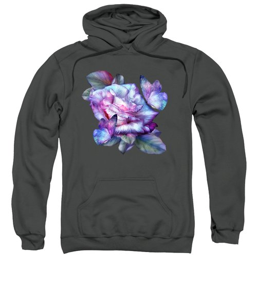 Purple Rose And Butterflies Sweatshirt