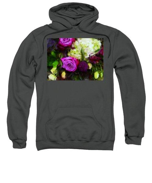 Purple Roses With Hydrangea Sweatshirt