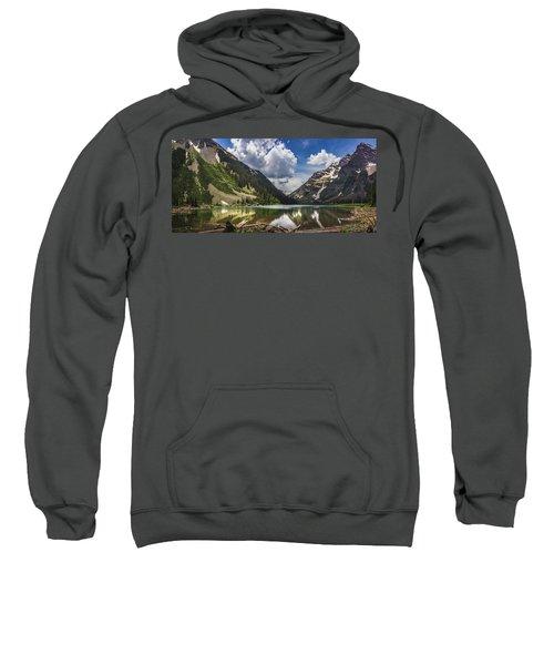 Pyramid Peak, Maroon Bells, And Crater Lake Panorama Sweatshirt