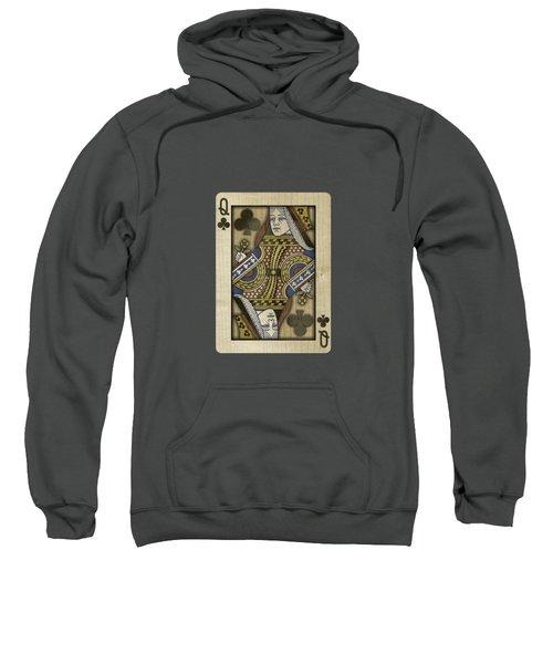 Queen Of Clubs In Wood Sweatshirt