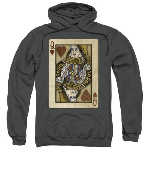 Queen Of Hearts In Wood Sweatshirt