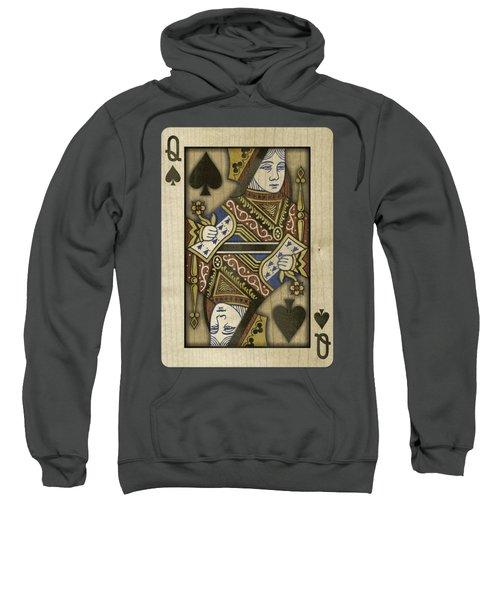 Queen Of Spades In Wood Sweatshirt