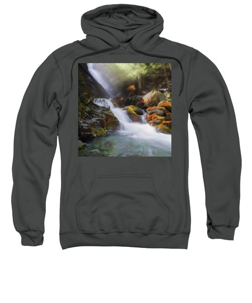 Sweatshirt featuring the photograph Race Brook Falls 2017 Square by Bill Wakeley