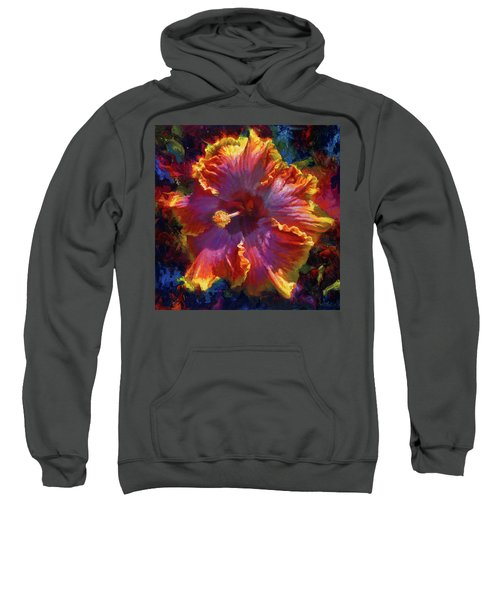 Rainbow Hibiscus Tropical Flower Wall Art Botanical Oil Painting Radiance  Sweatshirt