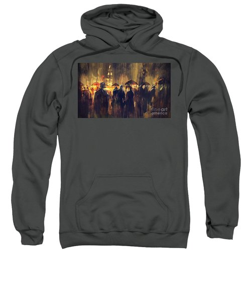 Sweatshirt featuring the painting Raining by Tithi Luadthong