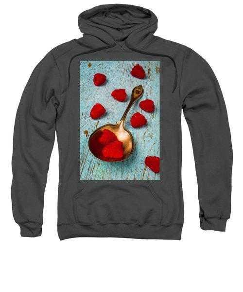 Raspberries With Antique Spoon Sweatshirt by Garry Gay