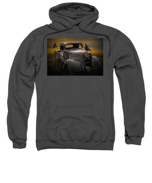 Raven Hood Ornament On Old Vintage Chevy Pickup Truck Sweatshirt
