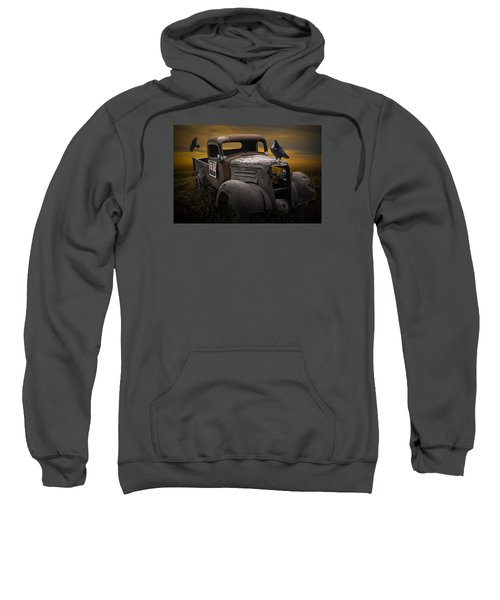Raven Hood Ornament On Old Vintage Chevy Pickup Truck Sweatshirt