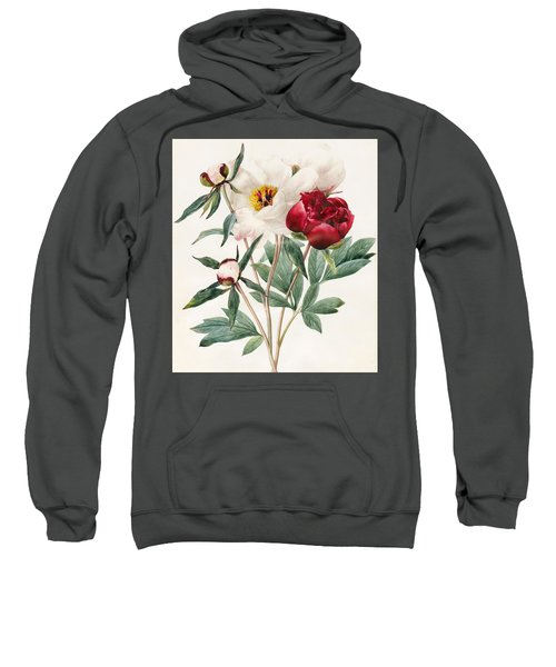 Red And White Herbaceous Peonies Sweatshirt