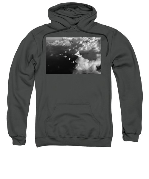 Red Arrows And Vulcan Above Clouds Black And White Sweatshirt