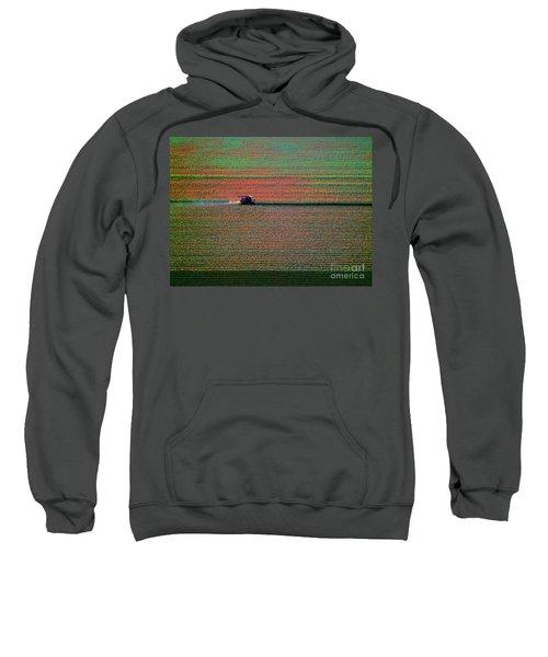 Red Combine Harvesting  Mchenry Aerial Sweatshirt