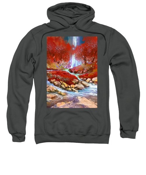 Sweatshirt featuring the painting Red Forest by Tithi Luadthong