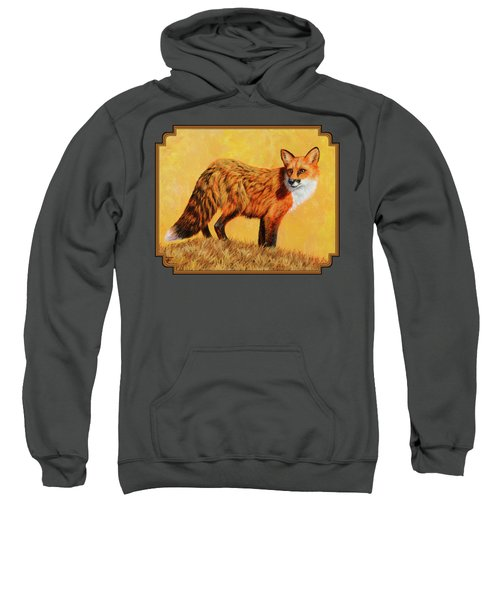 Red Fox Painting - Looking Back Sweatshirt