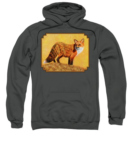 Red Fox Painting - Looking Back Sweatshirt