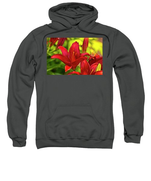 Red Lily Sweatshirt by Bill Barber