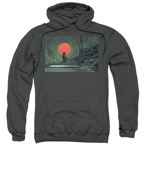 Sweatshirt featuring the painting Red Moon Night by Tithi Luadthong